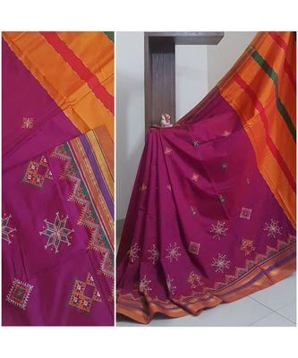 Purple ilkal with traditional kasuti embroidery