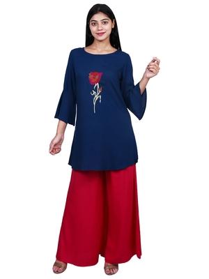 Blue embroidered rayon short-kurtis