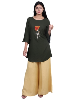 Dark-green embroidered rayon short-kurtis