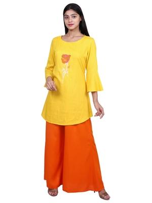 Yellow embroidered rayon short-kurtis