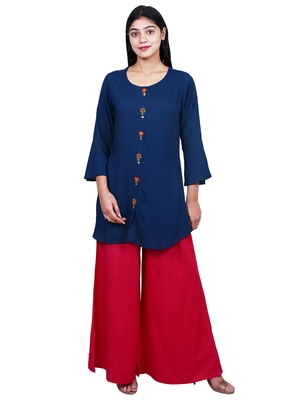 Blue embroidered rayon short-kurtis