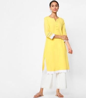 Yellow embroidered rayon kurtas-and-kurtis