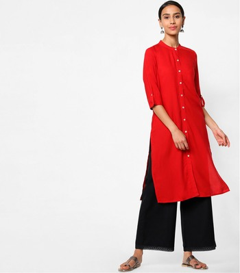 Red plain rayon kurtas-and-kurtis