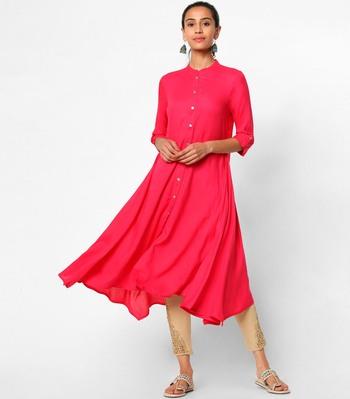 Pink plain rayon kurtas-and-kurtis