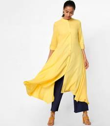 Yellow plain rayon kurtas-and-kurtis