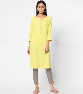 Yellow embroidered rayon kurtas-and-kurtis