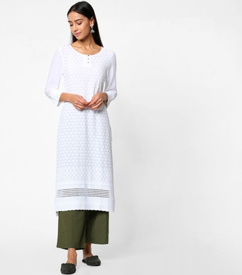 White embroidered rayon kurtas-and-kurtis