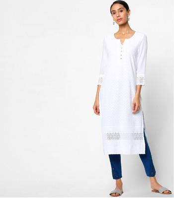 White embroidered rayon kurtas-and-kurtis
