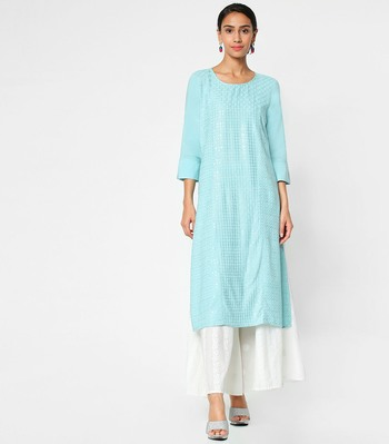 Blue embroidered rayon kurtas-and-kurtis