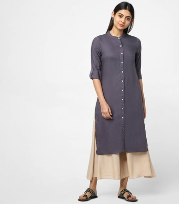 Grey plain rayon kurtas-and-kurtis