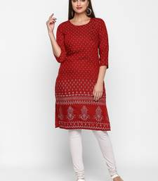 Women Embroidered Rayon A-line Casual Kurta