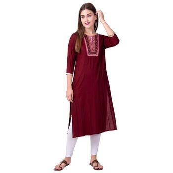 Women Embellished Rayon Straight Kurta
