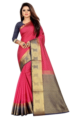 Red woven pure cotton saree with blouse