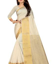 White woven pure cotton saree with blouse
