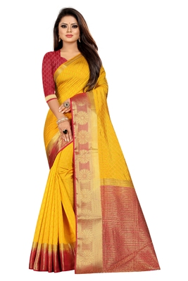 Yellow woven pure cotton saree with blouse