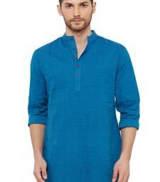 Men' Cotton Handloom Blue coloured Self Textured Short Length Kurta