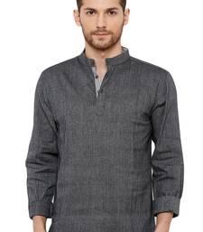 Men' Cotton Handloom Dark Grey coloured Self Textured Short Length Kurta