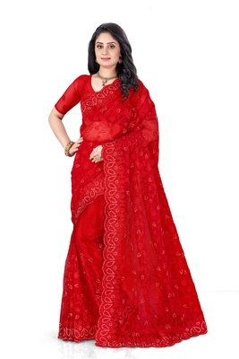 Red embroidered net saree with blouse