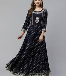 Blue embroidered rayon long-kurtis