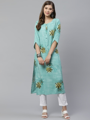 Turquoise printed rayon ethnic-kurtis