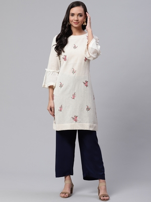 Off-white embroidered cotton short-kurtis
