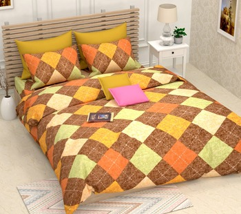 Multicolour Double Bed Sheet With Pillow Cover