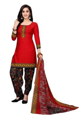 Red Printed Crepe Salwar With Dupatta