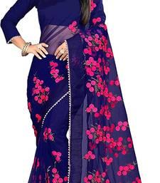 Dark Blue Women's Net Designer Embroidery Saree With blouse