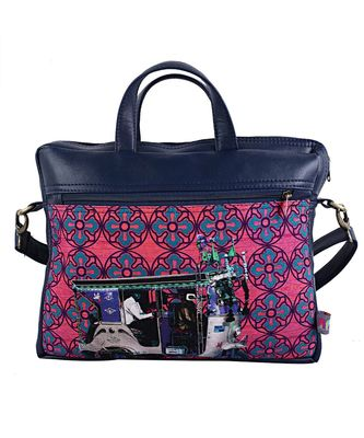 Blue Silver Taxi Canvas PU Laptop Bag