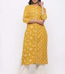 Women's  Mustard Cotton Slub Ikat Printed Straight Kurta