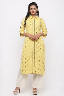 Women's  Yellow Cotton Flex Ikat Printed Straight Kurta