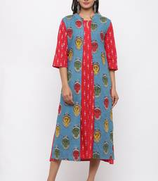 Women's  Red & Blue Cotton & Katha Cotton Ikat Printed A-line Kurta