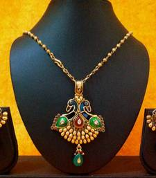 Buy Beautiful Peacock Pendant Necklace Set with Lovely Earrings v148 Necklace online