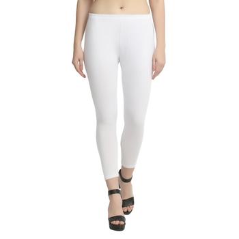 White plain cotton leggings