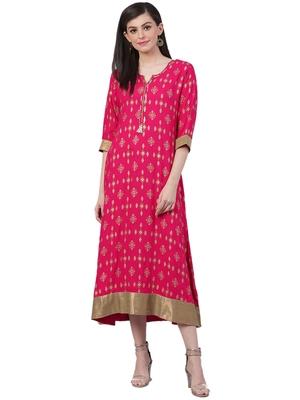 Pink printed rayon long-kurtis