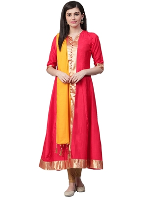 Red plain silk long-kurtis