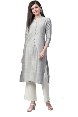 Silver plain art silk ethnic-kurtis