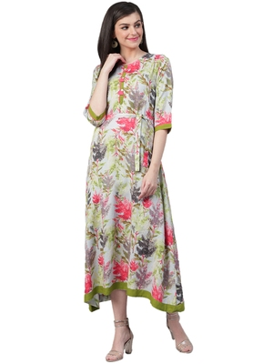 Grey printed rayon long-kurtis