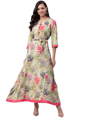 Cream printed rayon long-kurtis