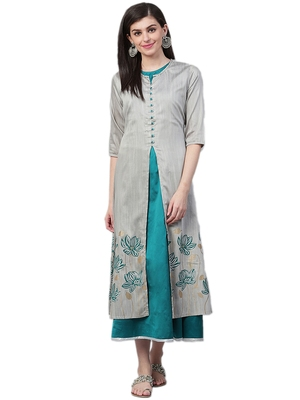Grey plain polyester long-kurtis