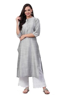 Silver plain art silk ethnic-kurtis