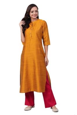 Mustard plain art silk ethnic-kurtis