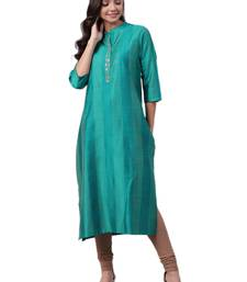 Teal plain art silk ethnic-kurtis