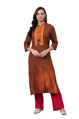 Brown printed liva ethnic-kurtis
