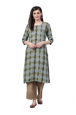 Olive printed rayon ethnic-kurtis