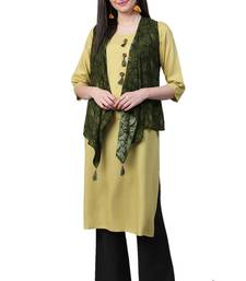 Green plain liva ethnic-kurtis