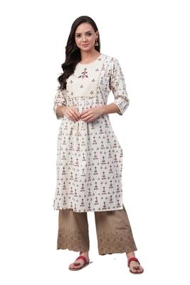 Off-white printed cotton ethnic-kurtis