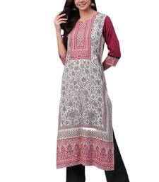 Off-white printed liva ethnic-kurtis