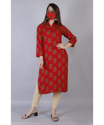 Women's Straight Rayon Floral Printed Kurti In Red Colour