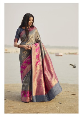 Grey Color Weaving With Jacquard/Printed Work Saree